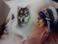 NATIVE AMERICAN LITHOGRAPH ON CANVAS