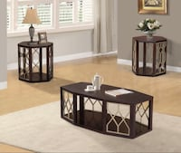 NEW 3 PCS BROWN COFFEE TABLE SET Clifton, 07013