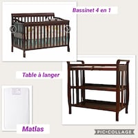 Black wooden crib with changing  table  Laval, H7R 5K2