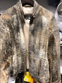 Women's distressed lamb skin leather jacket