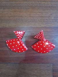 Vintage Red Polka Dot Silver Plated Earrings Ellicott City