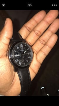 Round black chronograph fossil watch with black leather strap Baltimore, 21218