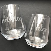 Personalized name wine glasses Vaughan