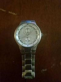 round silver-colored chronograph watch with link bracelet 166 mi