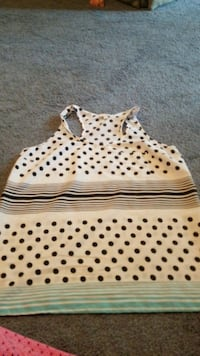 white and black polka dot print tote bag Grovetown, 30813