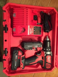 Red and black milwaukee cordless hand drill with case Germantown, 20876