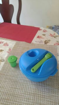 round blue plastic food container with green fork Manassas, 20109