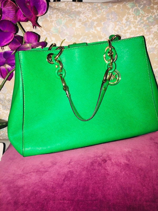 f955869245e0 Used green Michael Kors leather tote bag for sale in New York - letgo
