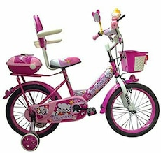 pink and purple Swimming bicycle with training wheels