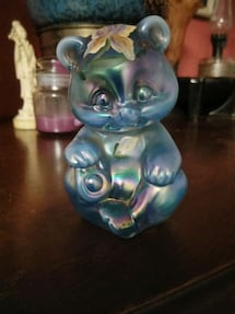Fenton hand painted glass bear