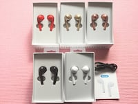 New EarPods Bluetooth Wireless Microphone Double 5-6h of music and talk  5 colours: Red White Black Gold Gold Rose  content : box, airpods, charger, instructions  work with all android and IOS devices, windows system, connect and memorise the last 2 bluet
