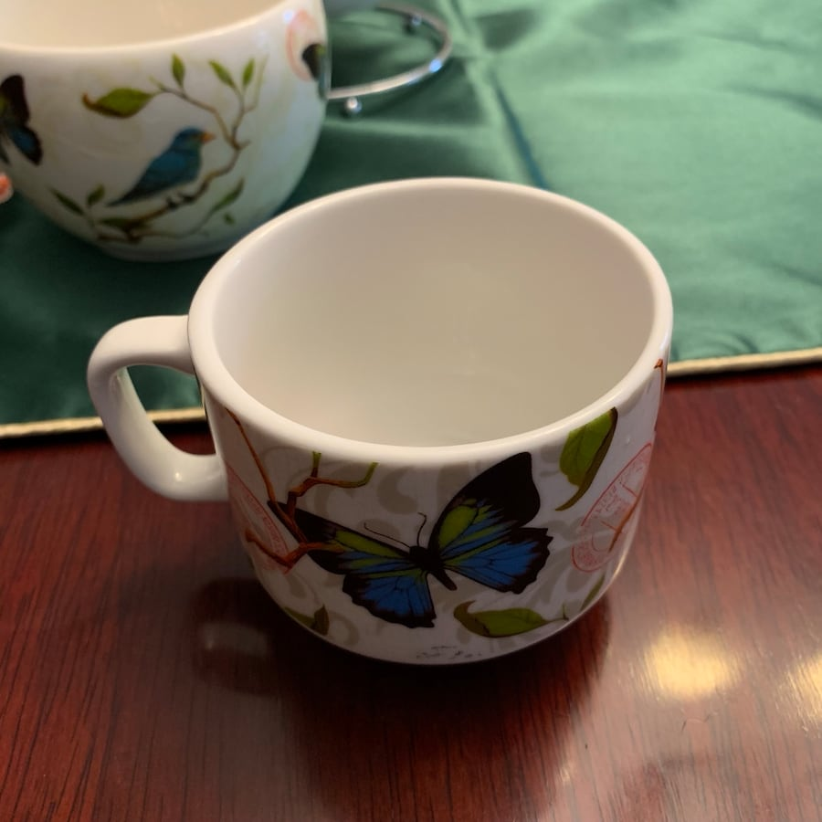 Cypress Home 12 pieces ceramic cups, bowls and spoons &folks stand 9bcc4281-a08a-43bc-a80f-26502e63f734