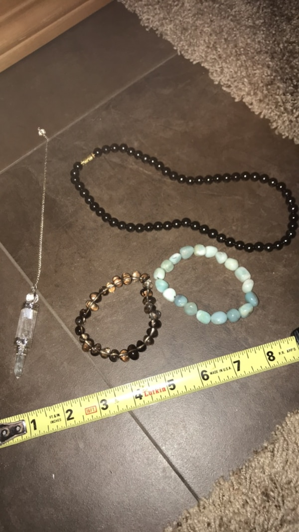 Shungite necklace, Smokey quartz and and I am unsure of the type of stone  blue bracelet is