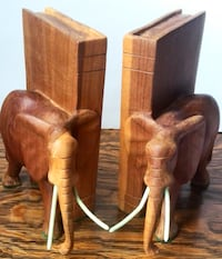 Elephant Wood-Carved Bookends