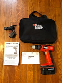 Black & Decker 14.4V Cordless Drill Set, Paid $70 GCO14SFB. Everything works perfectly. Good condition. Fully charged! missing a small piece on the drill. Still works fine.  Washington, 20002