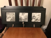 black wooden wall-mount mail and key organizer