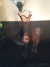 Vintage pink depression glass vase and creamer Toronto, M1V 2N6