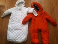 baby's white and red pram suit Montréal, H1Z 2E7