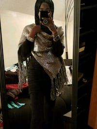 Silver sequin wrap in great condition