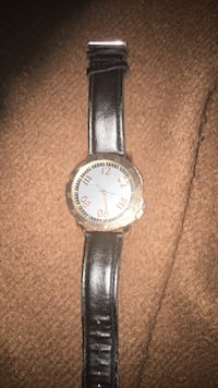 round silver-colored analog watch with black leather strap Washington, 20001