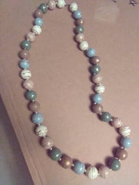 blue, green and brown beaded necklace