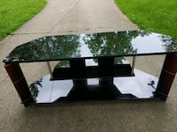 Large Glass & Wood TV Stand/Table.