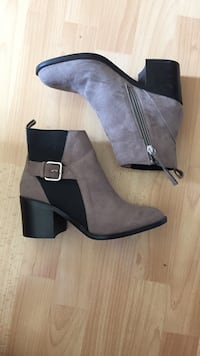 bottines Zara en daim grise T.36 Bordeaux