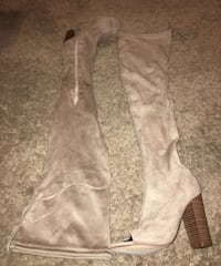 pair of brown suede knee-high boots 2241 mi