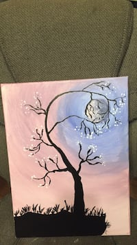 silhouette of tall tree with moon background painting canvas