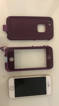 gold iPhone 5s with maroon Lifeproof case Thunder Bay, P7K 1K5