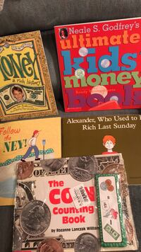 New Money Books-Money a Rich History,  Ultimate Kids' Money Book, Follow the Money!,  Alexander Who Used to be Rich Last Sunday, Coin Counting Book, self-checking  money puzzles Columbia, 21045