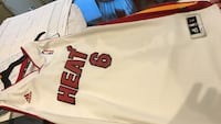 white and red Heat 6 Adidas NBA jersey shirt