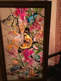 Stained Glass Floral And Butterfly Frame, Never Hung! Can Be Hung Vertical Or Horizontal, Smoke Free Home  Fairfield, 07004