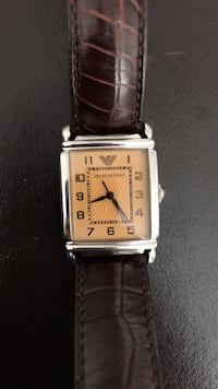 rectangular silver analog watch with brown leather strap Toronto, M2M 4B1