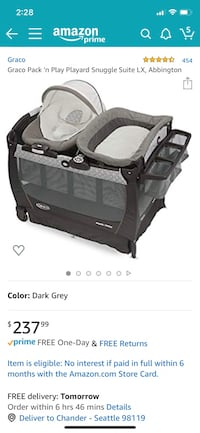 Reduced Final Price:Graco bassinet+changing table+play yard+bouncer