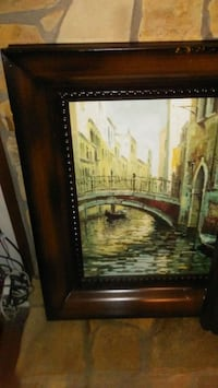 brown wooden framed painting of house Marietta, 30064