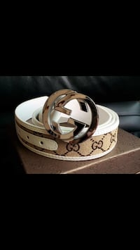 monogrammed brown and white Gucci belt New York, 11377