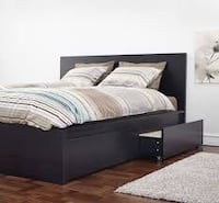 Ikea MALM bed frame with drawers and mattress