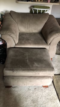 gray suede sofa chair with ottoman Placentia, 92870