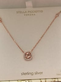 "STELLA PICCIOTTO VERONA Rose gold square sterling silver 18"" necklace  Boiling Springs, 29316"