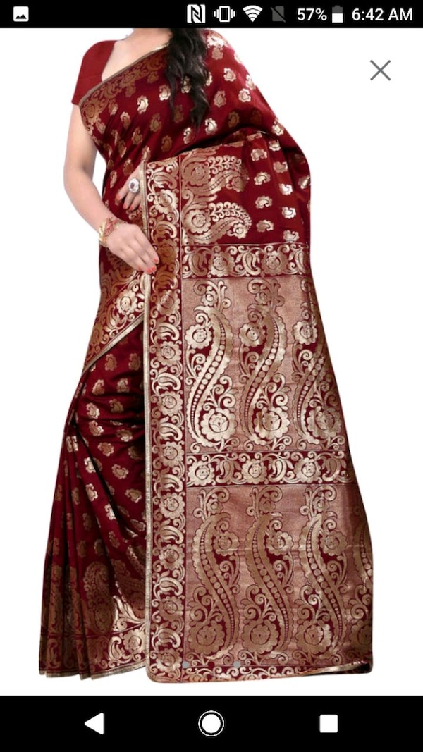 women's red and brown floral dress