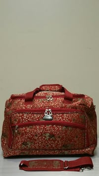 LARGE, RED / GOLD BROCADE, SOFT-SIDE CARRY-ON, PERSONAL LUGGAGE TOTE - Pls. see all photos. Arlington, 22204