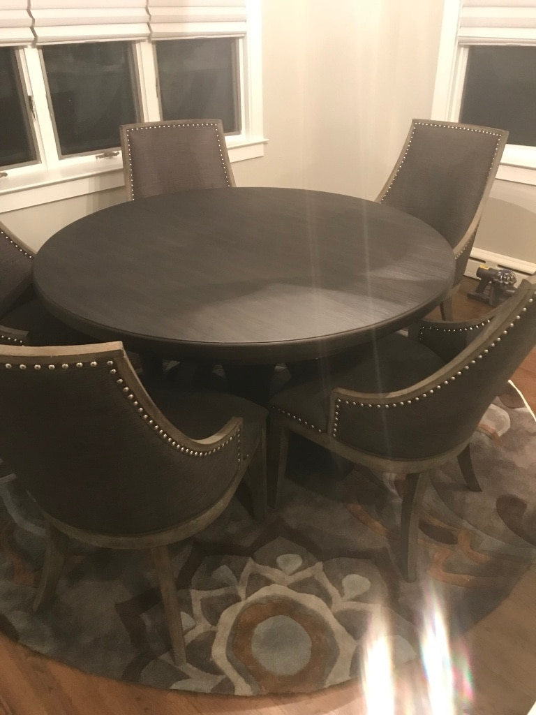 used round black wooden table with four chairs dining set for sale in rh gb letgo com