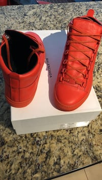 """Pair of orange high-top balenciaga sneakers with box"""" brand new Mississauga, L5B"""