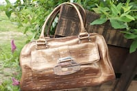 GUESS Gold Patent Leather Handbag Maple Ridge