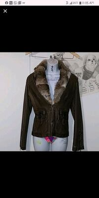 Faux leather jacket, fur collar