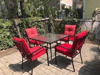 Red and black patio table set Peabody
