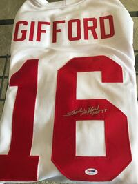 """Frank Gifford signed Giants jersey with """"HOF 77"""" inscription. PSA/DNA certified (U86479).  Albany, 12205"""