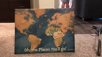 brown and blue Oh, the Places You'll Go! map poster