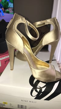 Pair of brown peep-toe ankle-strap stiletto sandals